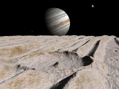 Artist's concept of an impact crater on Jupiter's moon Ganymede, with Jupiter on Stock Illustration