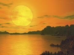 A hypothetical view across a rocky and watery terrain on extrasolar planet - stock illustration
