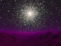 Illustration of a globular cluster over the terrain of a barren planet. - stock illustration
