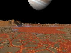 Artist's concept of a view across a pool of lava on the surface of Io, towards Stock Illustration