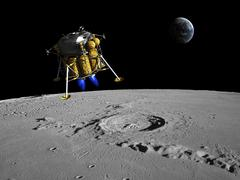A lunar lander begins its descent to the moon's surface. Stock Illustration