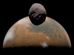 Artist's concept of Mars and its tiny moon Phobos. Stock Illustration