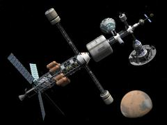A manned Mars cycler space station approaches the planet Mars. Stock Illustration