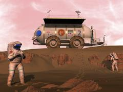 Illustration of astronauts examining an outcrop of sedimentary rock on a Martian Stock Illustration