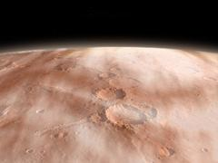 High altitude clouds of water ice crystals on the planet Mars. Stock Illustration