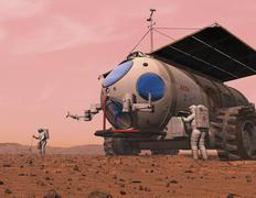Artist's concept of how a martian motorhome might be realized. Stock Illustration