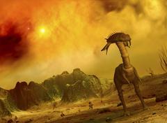 Artist's concept of an alien planet. Stock Illustration
