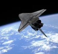 Artist's concept of a space shuttle entering Earth orbit. Stock Illustration
