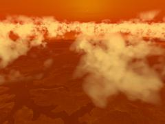 Artist's concept of methane clouds over Titan's south pole. Stock Illustration