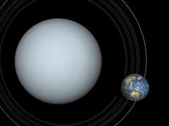 Artist's concept of Uranus and Earth to scale. Stock Illustration