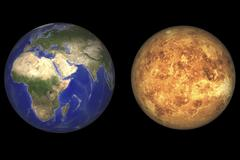 Artist's concept showing Earth and Venus without their atmospheres. Stock Illustration