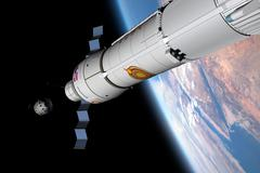A command module approaches an awaiting rocket in Earth orbit. Stock Illustration