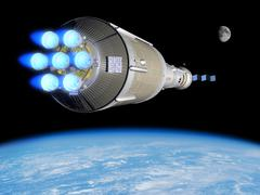 A Phobos mission rocket ignites its chemical thrusters. Stock Illustration