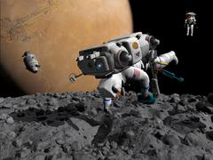 An astronaut makes first human contact with Mars' moon Phobos. Stock Illustration
