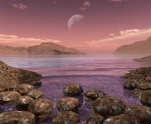 Artist's concept of Archean stromatolites on the shore of an ancient sea. Stock Illustration