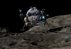 A manned Asteroid Lander prepares to land on the surface of an asteroid. Stock Illustration