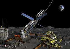 A manned lunar space elevator prepares to depart from its manned lunar base. Stock Illustration