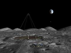 A giant liquid mirror telescope lies nestled in a lunar crater. Stock Illustration