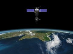 A Soyuz TMA-M spacecraft in low Earth orbit. Stock Illustration