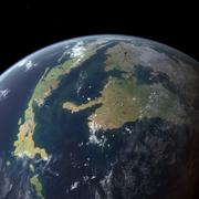 The Western Interior Seaway as seen 75 million years ago from Earth orbit. Stock Illustration