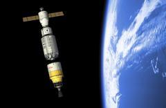 An orbital maintenance platform docks an orbiting booster in low Earth orbit. Stock Illustration
