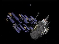 Asteroid mining outpost. Stock Illustration
