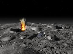 A robotic probe drills into the surface of an asteroid as a meteorite strikes Stock Illustration