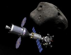 An Asteroid Lander is docked to a Deep Space Vehicle. Stock Illustration