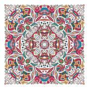 Design for square pocket, shawl, textile. Vector floral pattern Stock Illustration