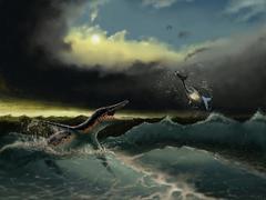 Pliosaurus irgisensis attacking a shark. Stock Illustration