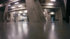 Timelapse of tourists in London's Tate Modern Gallery basement Stock Footage