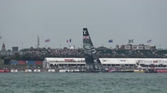 America's Cup qualifying series - Team BAR sails in front of the crowd line. Stock Footage
