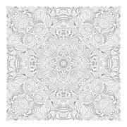 Coloring book square page for adults - floral authentic carpet design, joy to - stock illustration