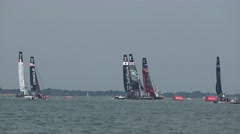 America's Cup qualifying series - The boats round the mark. Stock Footage