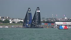 America's Cup qualifying series - Teams Sweden and Japan battle for the lead. Stock Footage