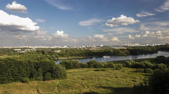 Panorama of moscow river from high shore of park Kolomenskoe time lapse Stock Footage