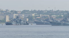 Russian Warships. Parade of Russian Navy. Stock Footage