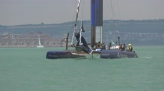 America's Cup qualifying series - Team Sweden relax before racing. Stock Footage