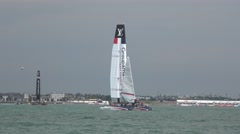 America's Cup qualifying series - Team France hauls up the gennaker. Stock Footage