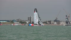 America's Cup qualifying series - Team France perform a tack. Stock Footage