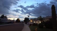 Typical Arizona Neighborhood Sunset Establishing Shot Stock Footage