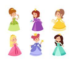 Princess vector set Stock Illustration