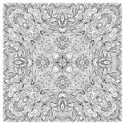 Coloring book square page for adults - floral authentic carpet design, joy to Stock Illustration