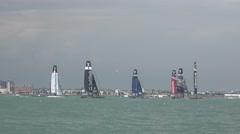 America's Cup 2016 - The boats jostle for postion at the start of a race. Stock Footage