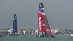 America's Cup qualifying series - Team New Zealand relax after a race. Stock Footage
