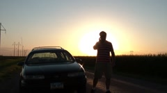 Frustrated Man on Phone Time-lapse at Sunset Stock Footage