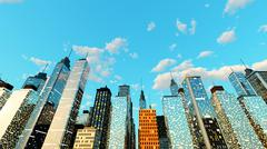 Blue Sky over the Big city.. Stock Illustration