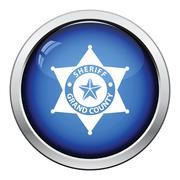 Sheriff badge icon - stock illustration