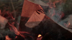 Burning wood Fire on air Stock Footage