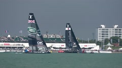 America's Cup qualifying series - Team Bar and Japan go head to head. Stock Footage